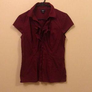 Deep red button down work blouse, size medium